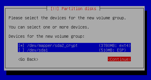 select encrypted device for the new volume group