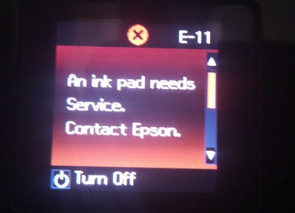 espon printer error 11