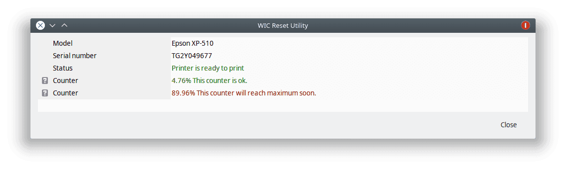 espon printer web interface after counter reset